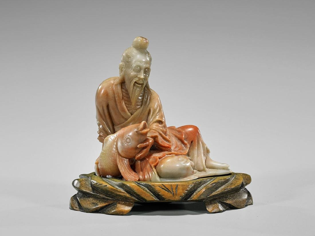 Chinese Soapstone Figure: Lohan & Fish