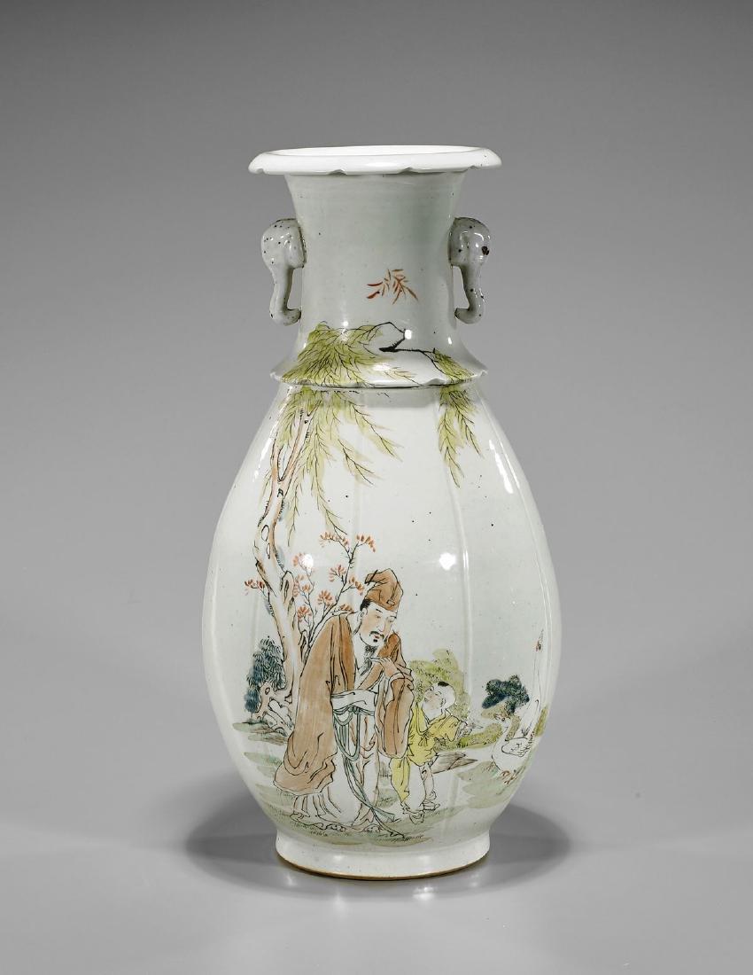 Enameled Porcelain Vase: Scholar & Child