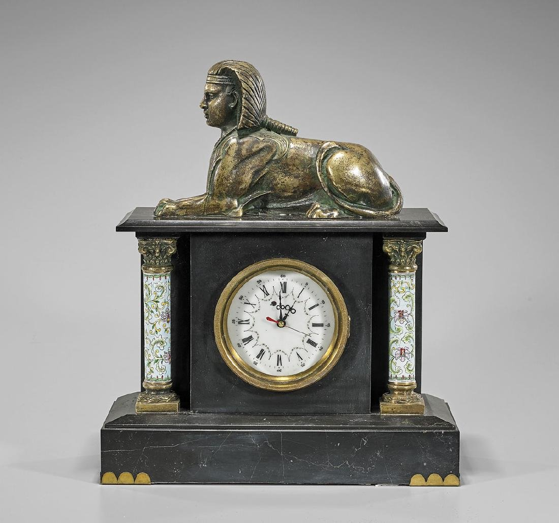 Heavy Chinese Sphinx Desk Clock