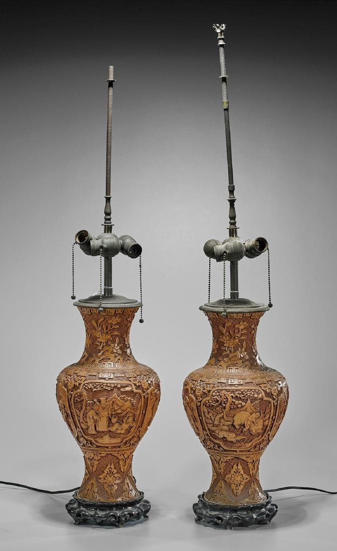 Pair Old Chinese Lacquer Vases/Lamps