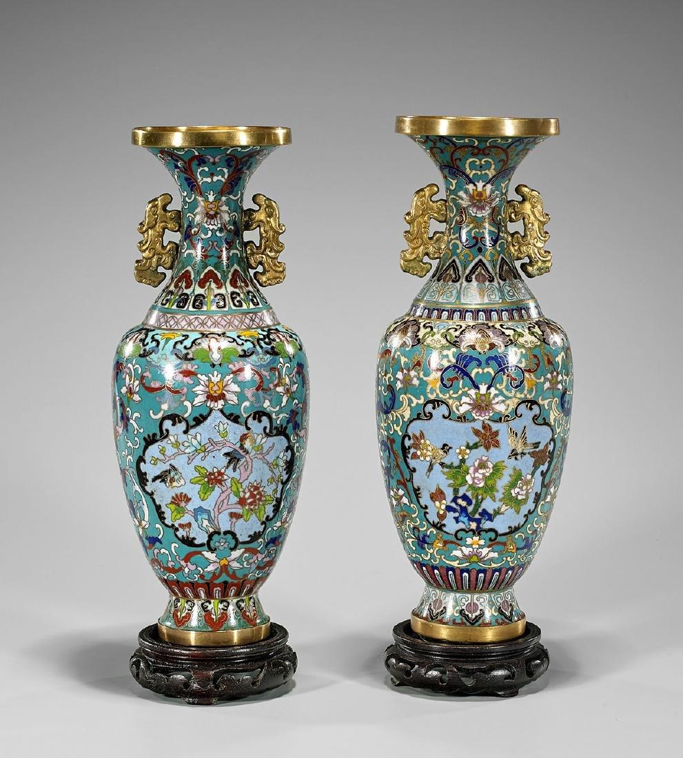 Pair Chinese Cloisonne Enamel Vases: Bird Motifs - 2