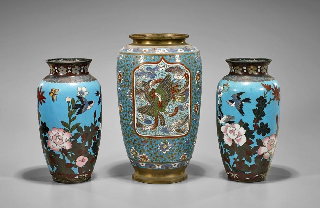 Three Antique Japanese Cloisonne & Champleve Vases