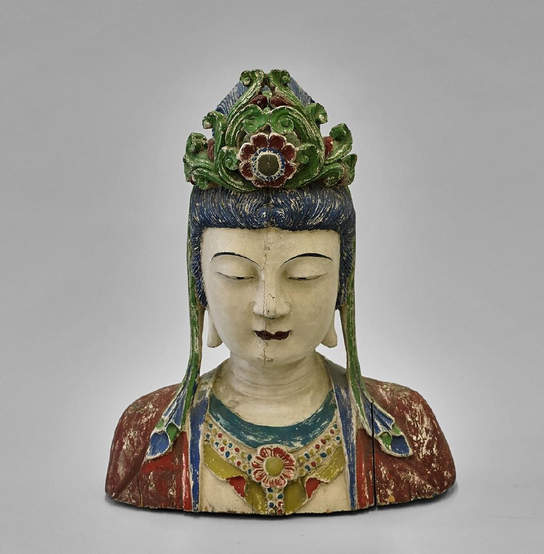 Large Polychrome Wood Bust of Guanyin