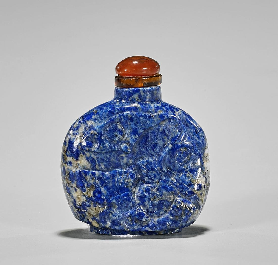 Lapis Lazuli Snuff Bottle: Fish & Waves