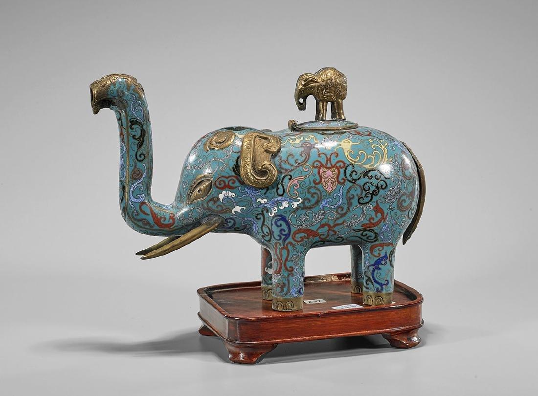 Chinese Cloisonne Enamel Elephant Censer