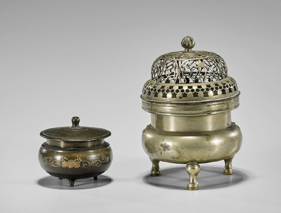 Two Antique Chinese Bronze Tripod Censers