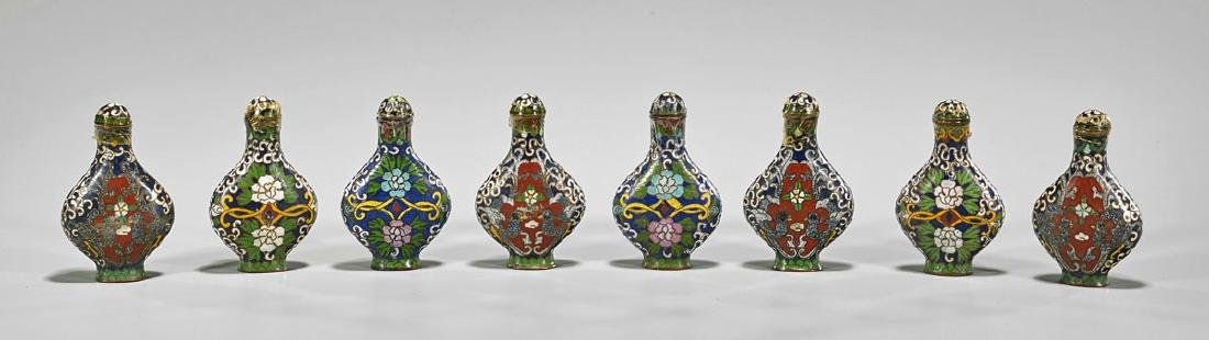 Group of Eight Cloisonne Enamel Snuff Bottles