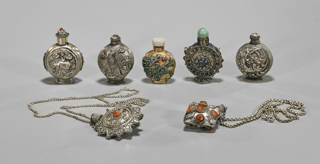 Group of Old Chinese Metalwork Snuff Bottles