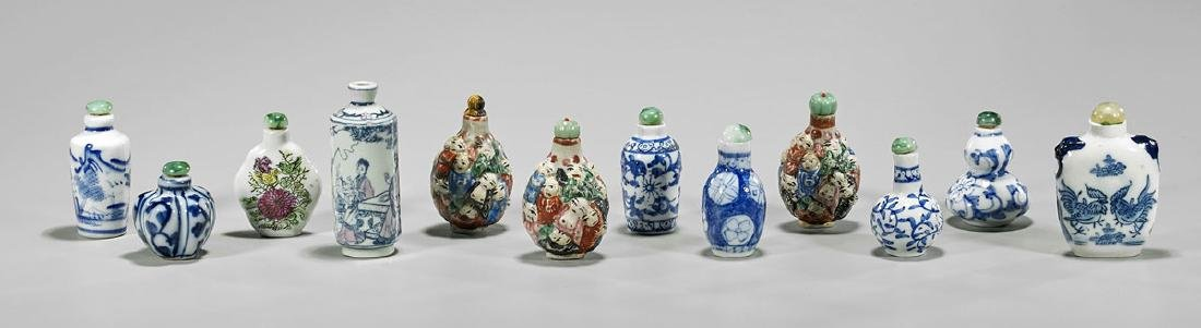 Twelve Chinese Porcelain Snuff Bottles