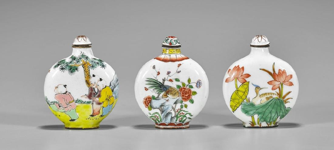 Three Chinese Enamel on Copper Snuff Bottles