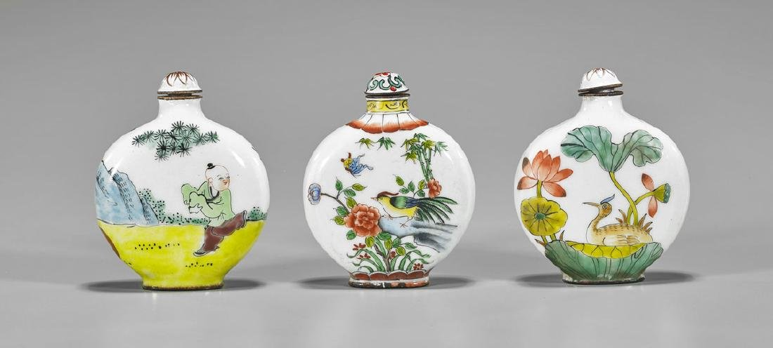 Three Chinese Enamel on Copper Snuff Bottles - 2