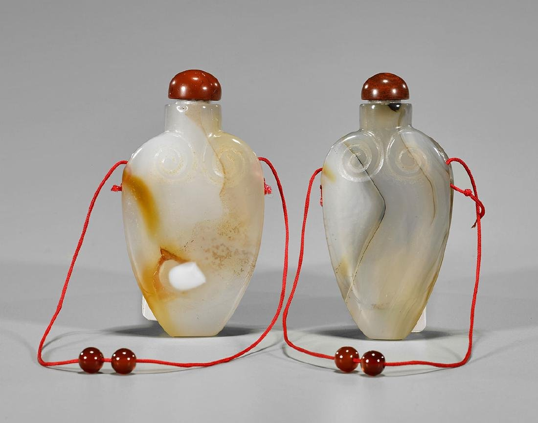 Pair Chinese Carved Agate Snuff Bottles