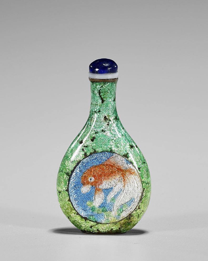 Antique Japanese Cloisonne Enamel Snuff Bottle