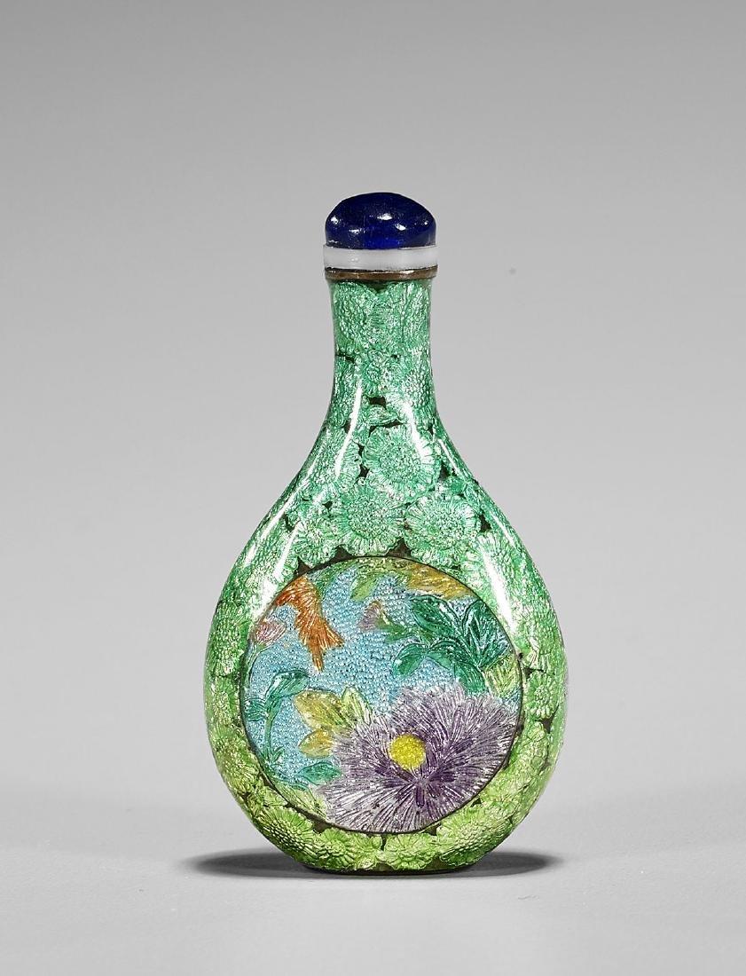 Antique Japanese Cloisonne Enamel Snuff Bottle - 2