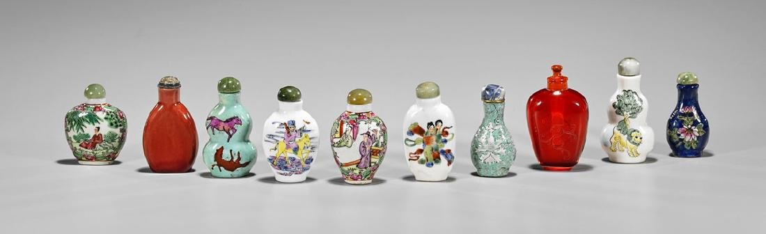 Collection of Ten Old Chinese Snuff Bottles