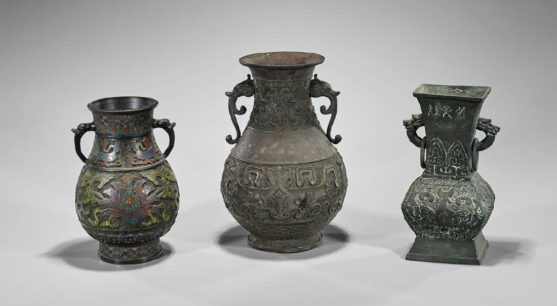 Three Archaic-Style Chinese Bronze Vessels