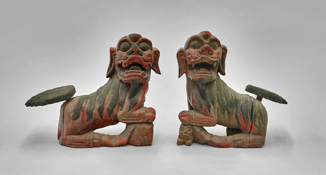 Pair of Large Antique Chinese Wood Fo Lions