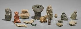 Collection of Pre-Columbian-Style Pottery and Stone