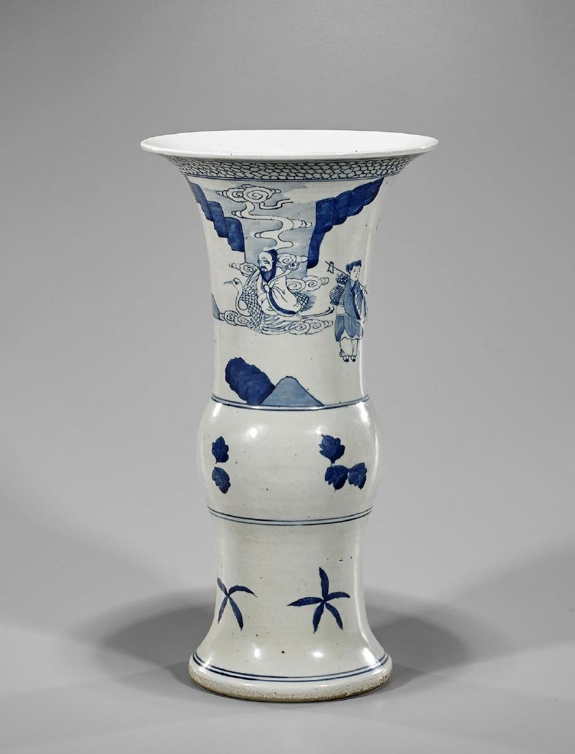 Blue & White Porcelain Vase: Eight Immortals