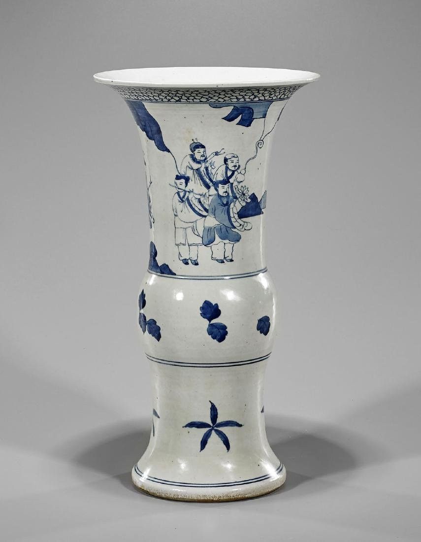 Blue & White Porcelain Vase: Eight Immortals - 2