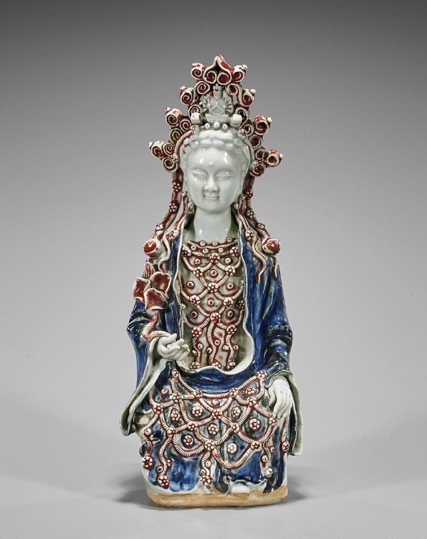 Parcel-Glazed Porcelain Figure of Guanyin
