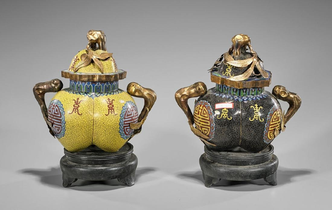 Pair Chinese Cloisonne Enamel Vessels - 2