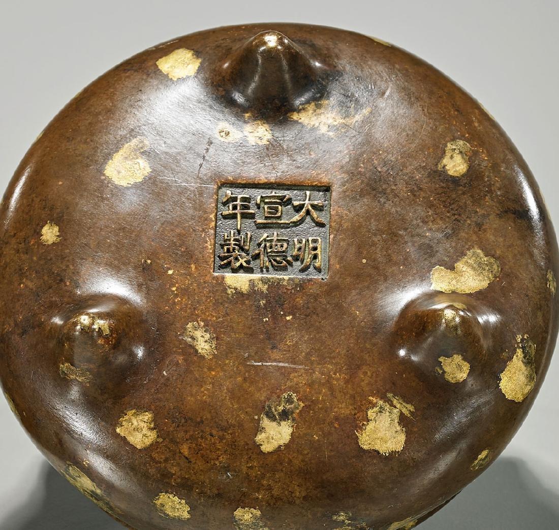 Chinese Gilt-Splashed Bronze Censer - 2