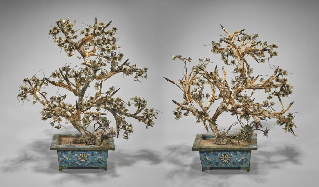 "Pair Large Antique Chinese Hardstone ""Trees"""