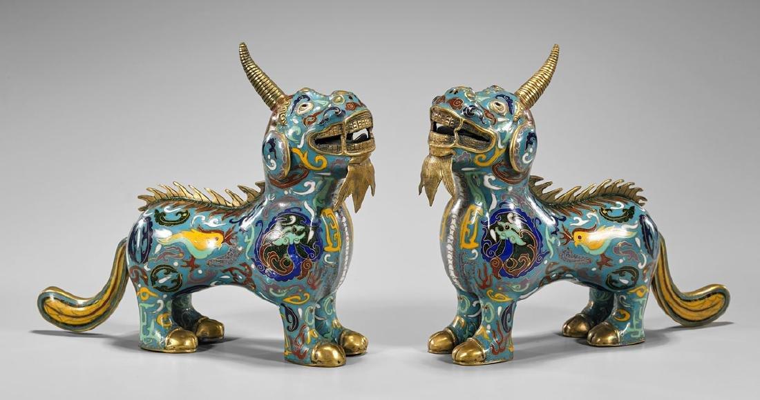 Pair Old Chinese Cloisonne Enamel Qilin