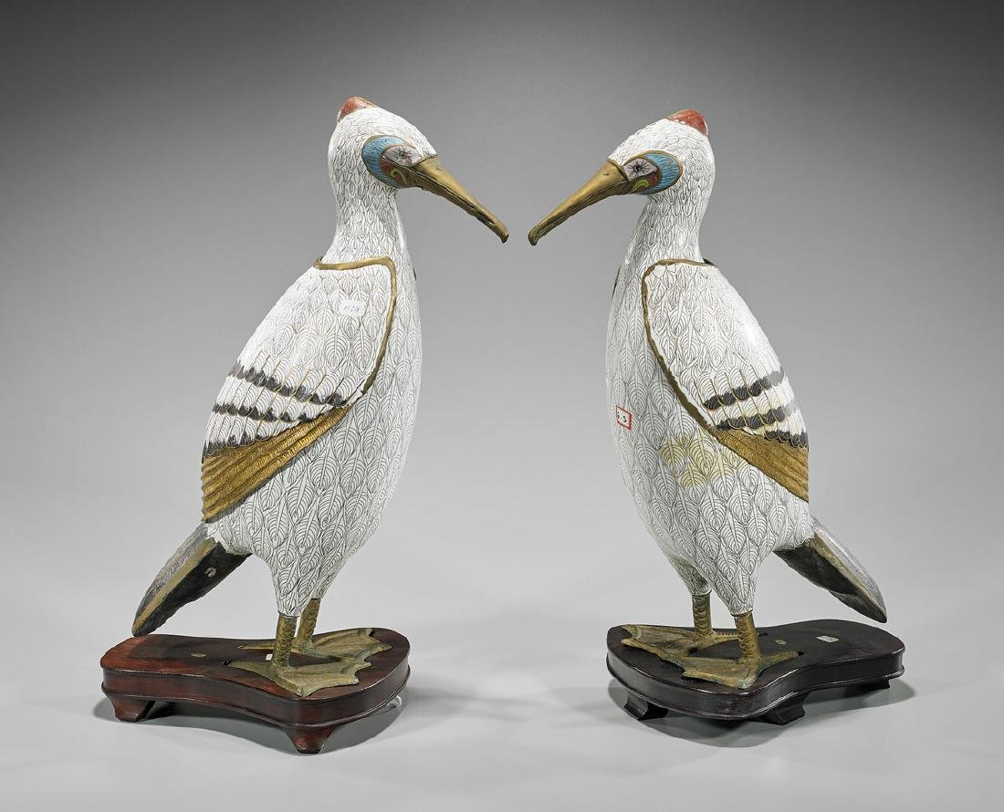 Pair Chinese Cloisonne Enamel Birds