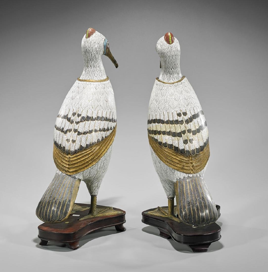 Pair Chinese Cloisonne Enamel Birds - 2