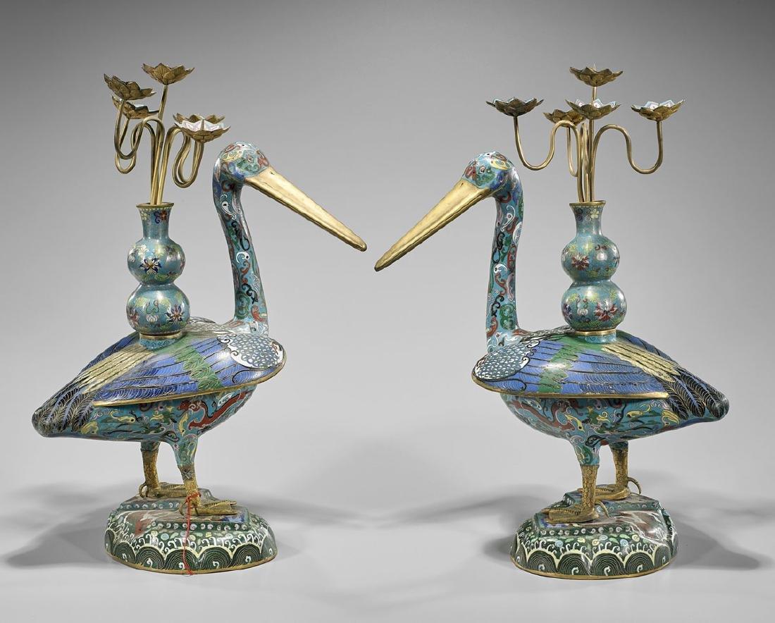 Pair Tall Cloisonne Enamel Bird Candelabras