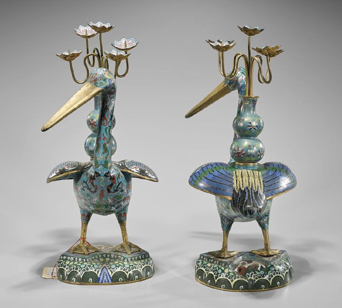 Pair Tall Cloisonne Enamel Bird Candelabras - 2