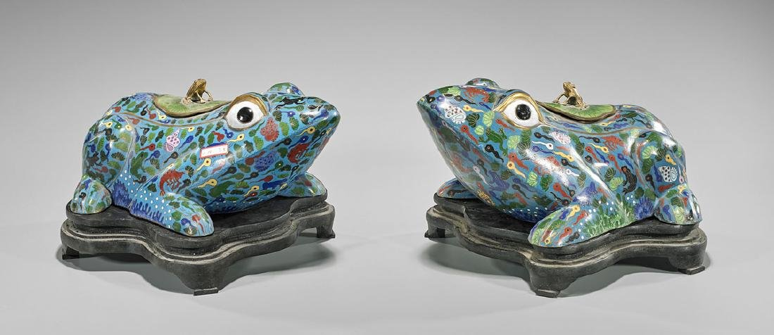 Pair Chinese Cloisonne Enamel Frogs
