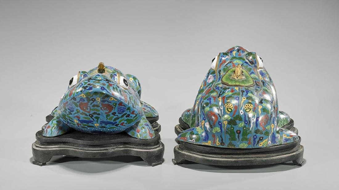 Pair Chinese Cloisonne Enamel Frogs - 2