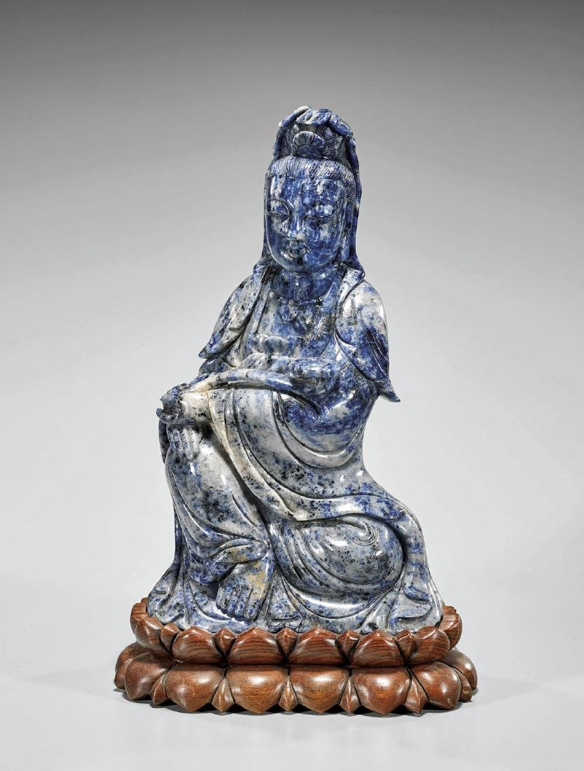 Large Chinese Carved Sodalite Guanyin