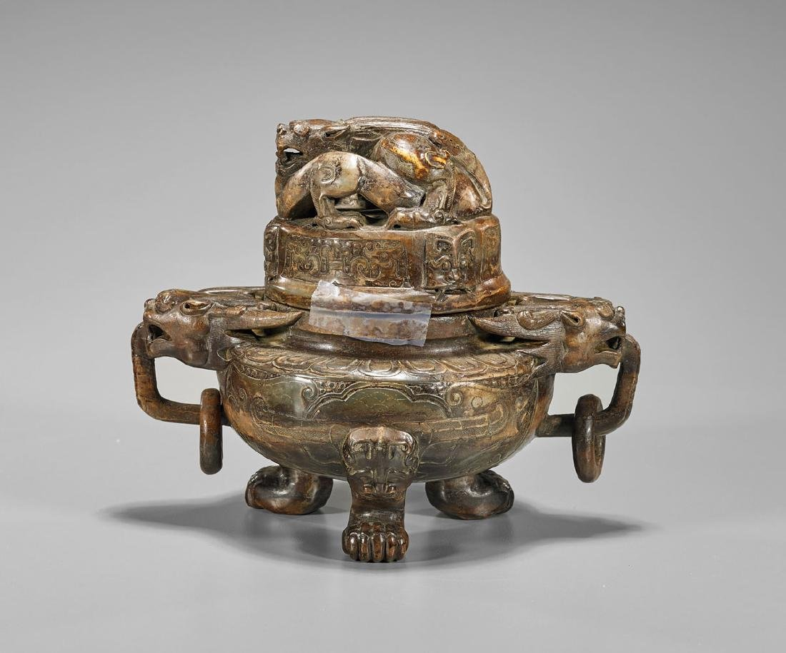 Chinese Bowenite Covered Censer