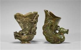 Two Carved Jade or Hardstone Libation Cups
