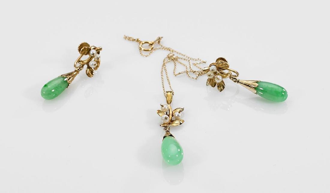 Jadeite, Pearl & 18K Gold Jewelry Suite