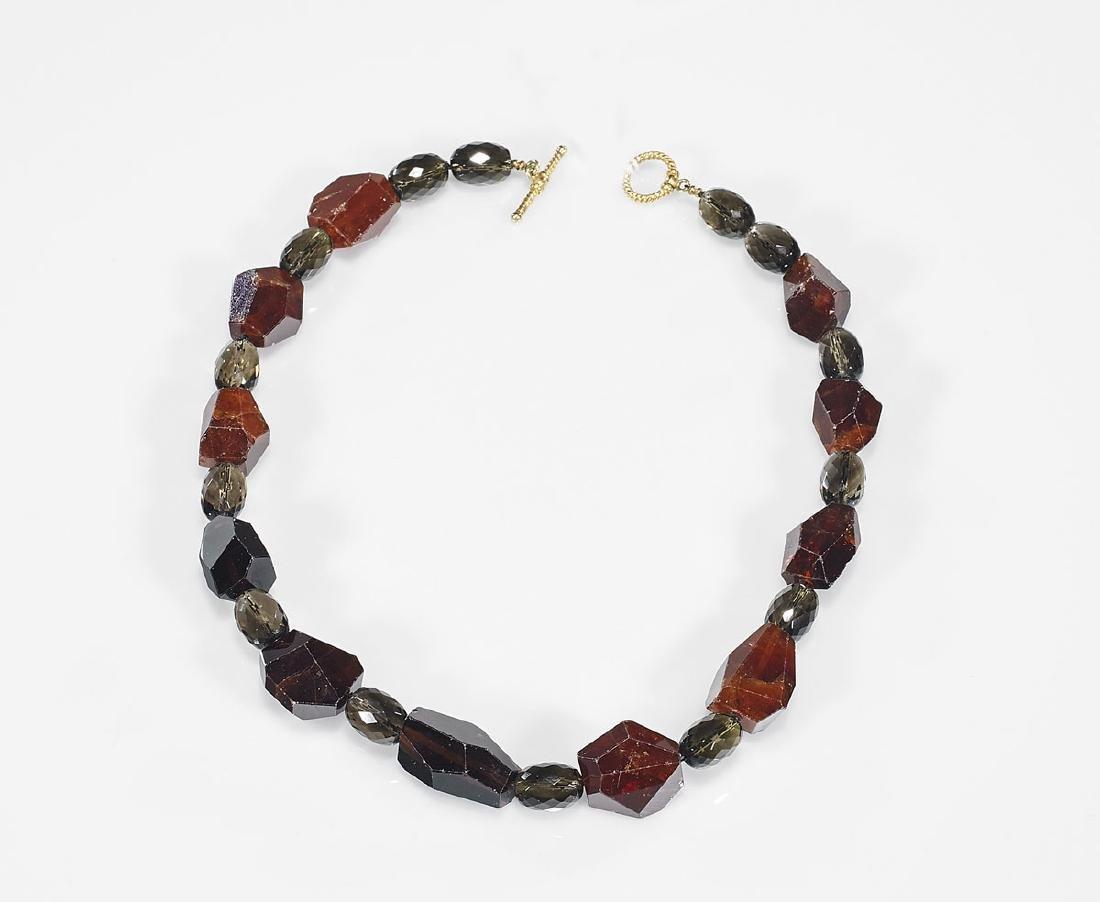 Smoky Quartz & Garnet Bead Necklace