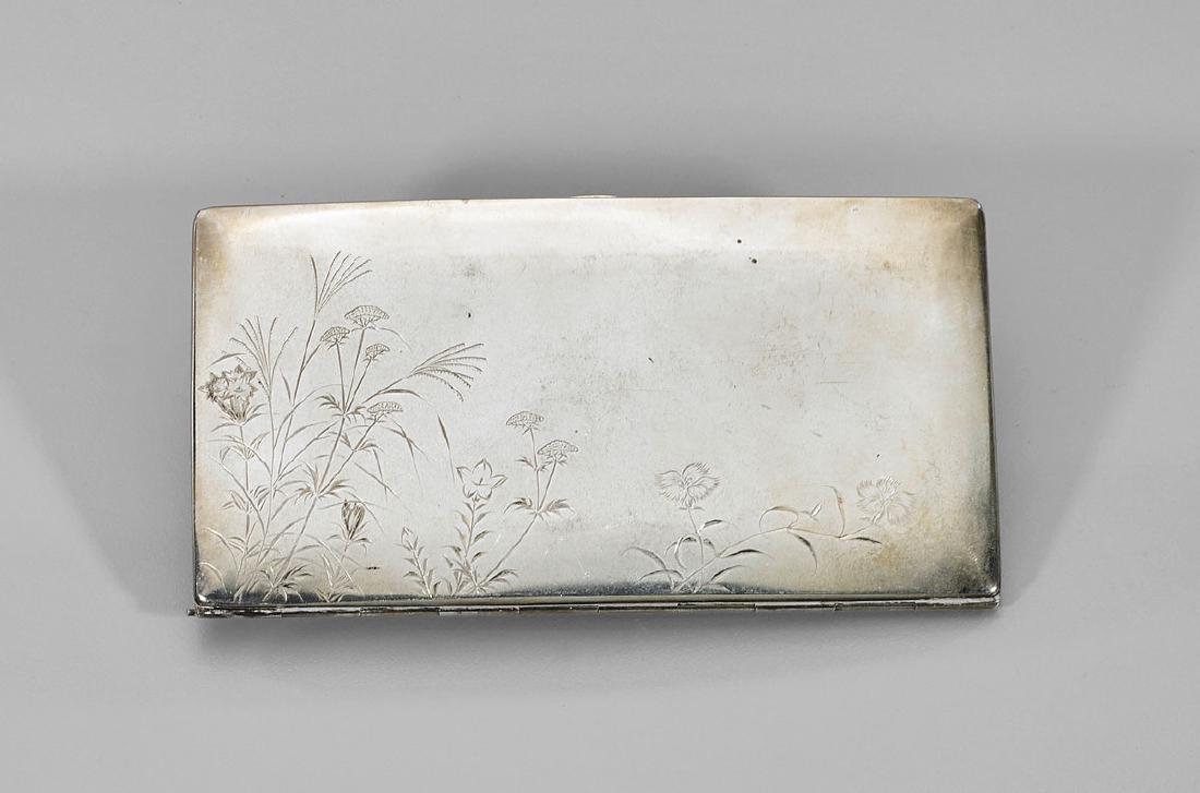 Antique Japanese Sterling Silver Cigarette Case: Flora