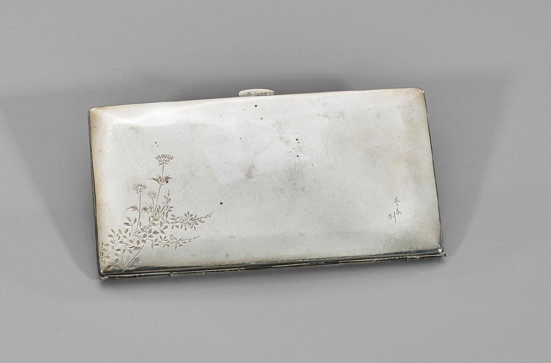Antique Japanese Sterling Silver Cigarette Case: Flora - 2