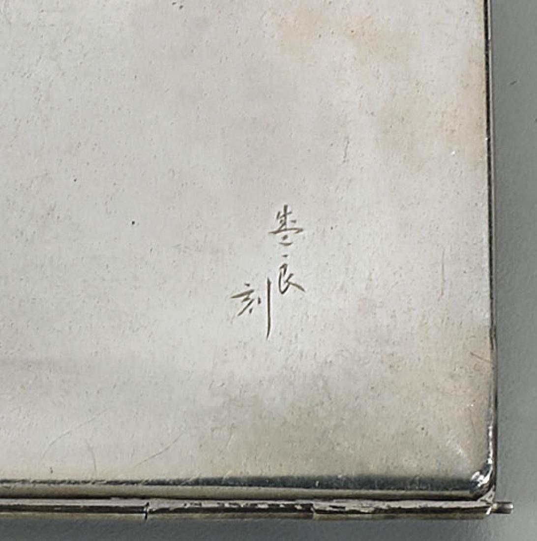 Antique Japanese Sterling Silver Cigarette Case: Flora - 4