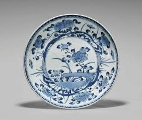Antique Japanese Blue & White Porcelain Charger