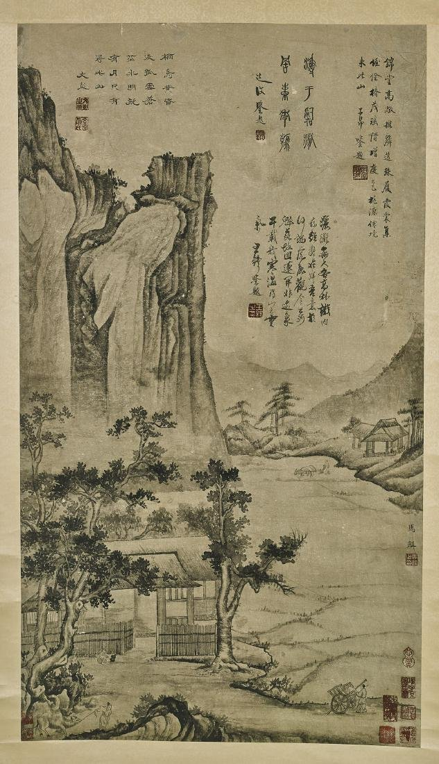 Two Chinese Paper Scrolls: Village Scenes