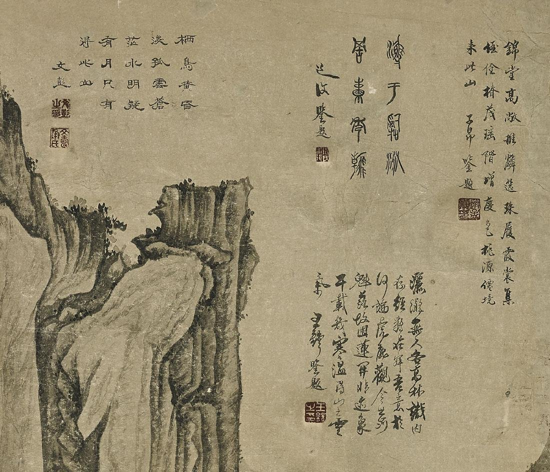 Two Chinese Paper Scrolls: Village Scenes - 2