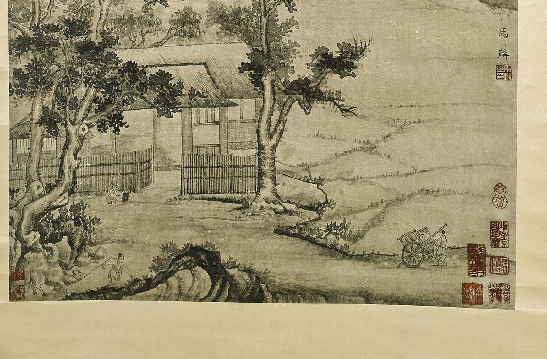 Two Chinese Paper Scrolls: Village Scenes - 3