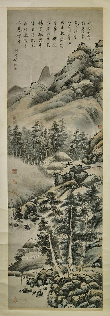 Two Chinese Paper Scrolls: Village Scenes - 4