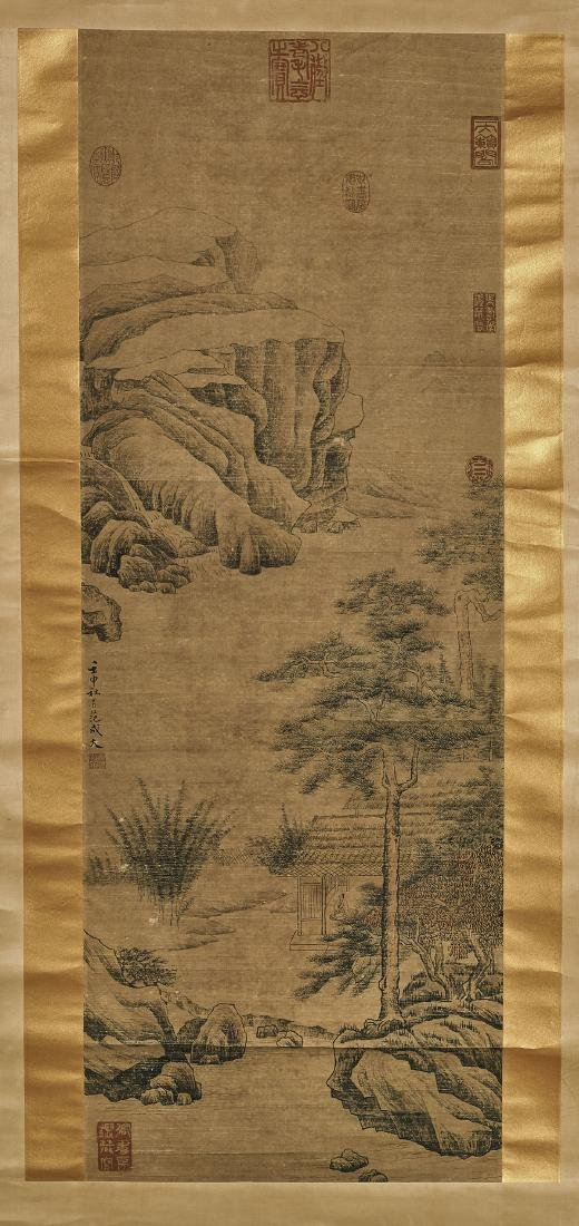 Two Chinese Paper Scrolls: Rural Scenes