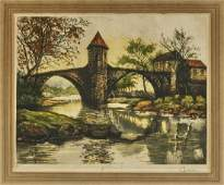 Three Old Artworks: Paintings & Hand-Colored Etching